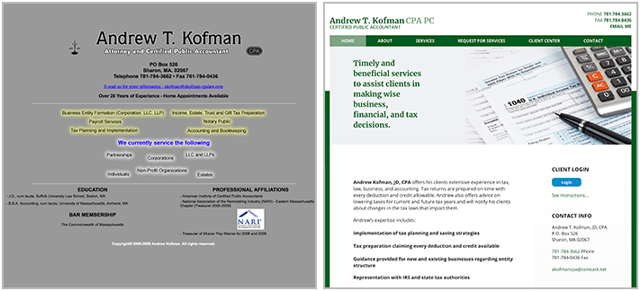 AKofman CPA website before and after snapshot