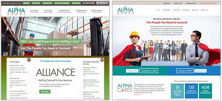 Alpha Group Website before and after snapshot