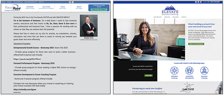 Elevate Business Coaching website before and after snapshot