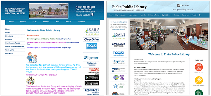 Fiske Library website before and after snapshot