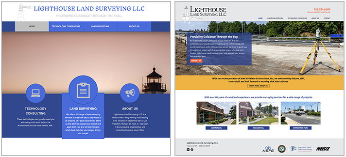 Lighthouse Land Surveying website before the redesign and after